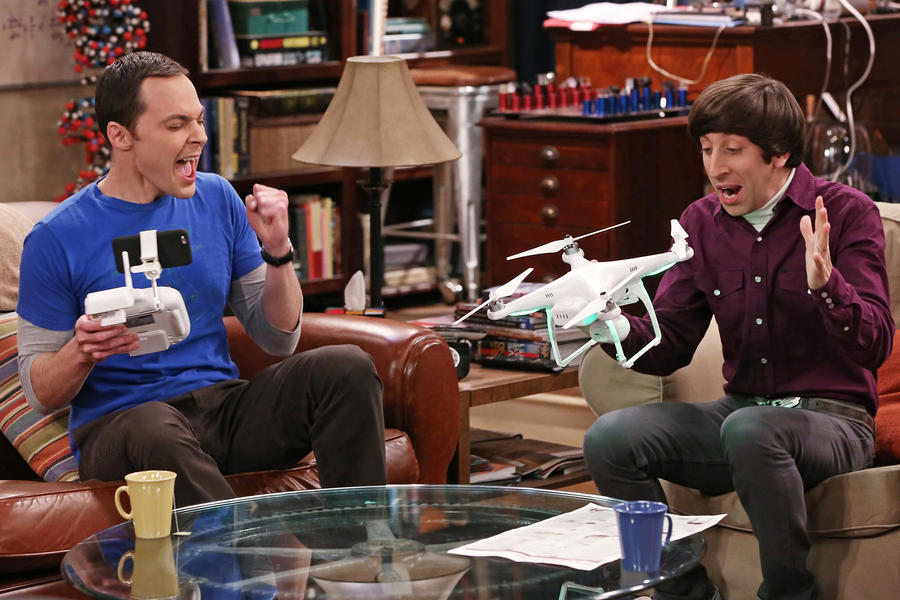 """The Graduation Transmission"" -- Wolowitz (Simon Helberg, right) questions his engineering abilities when he and Sheldon (Jim Parsons, left) can't get a toy drone to fly, on THE BIG BANG THEORY, Thursday, April 23 (8:00-8:31 PM, ET/PT), on the CBS Television Network. Photo: Michael Yarish/CBS �©2015 CBS Broadcasting, Inc. All Rights Reserved"