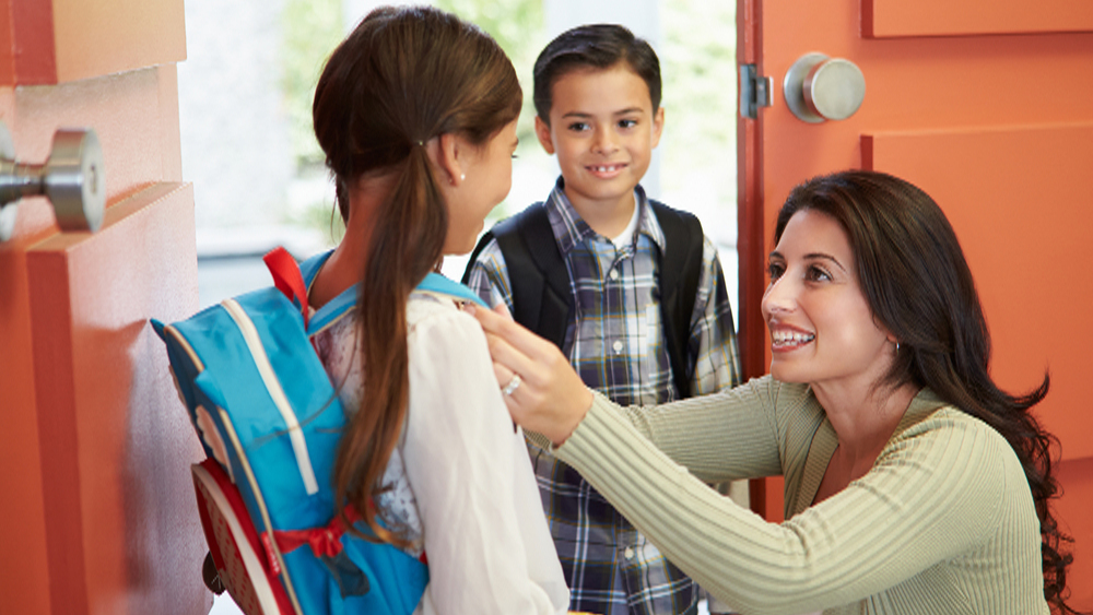 Mother Saying Goodbye To Children As They Leave For School; Shutterstock ID 184691876; PO: Photo request for TODAY moms