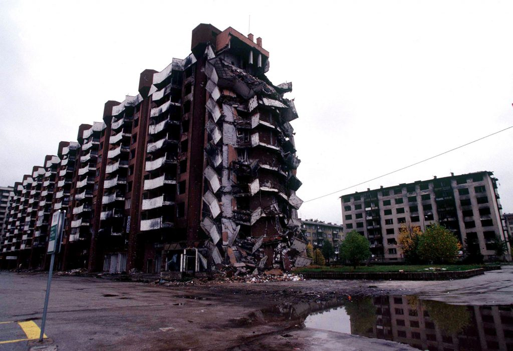 One of many apartment complexes in Sarajevo that have been destroyed during the war in Bosnia and Herzegovina during Operation JOINT ENDEAVOR.