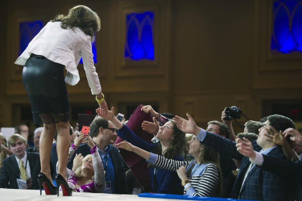 Former Alaska Gov. Sarah Palin shakes hands after addressing the Conservative Political Action Conference (CPAC) in National Harbor, Md., Thursday, Feb. 26, 2015. (AP Photo/Cliff Owen)